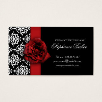 Wedding Red Rose Damask Appointment Business Card