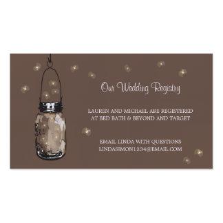 Wedding Registry Card Mason Jar & Fireflies Business Card Template