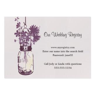 Wedding Registry Card Mason Jar & Wildflowers Large Business Cards (Pack Of 100)