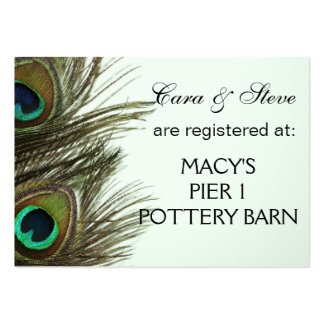 Wedding Registry Peacock Feather Cards Large Business Card
