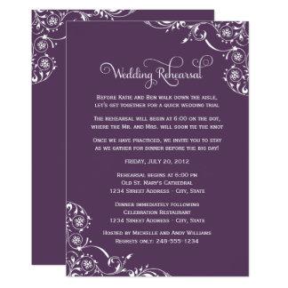 Wedding Rehearsal | Amethyst Purple Scroll Card