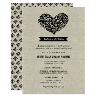 Wedding Rehearsal and Dinner | Black Rustic Card