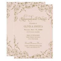 Wedding Rehearsal and Dinner   Blush Pink and Gold Card