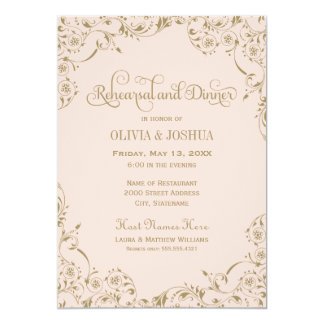Wedding Rehearsal and Dinner | Blush Pink and Gold Card