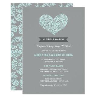 Wedding Rehearsal and Dinner | Gray and Aqua Blue Card