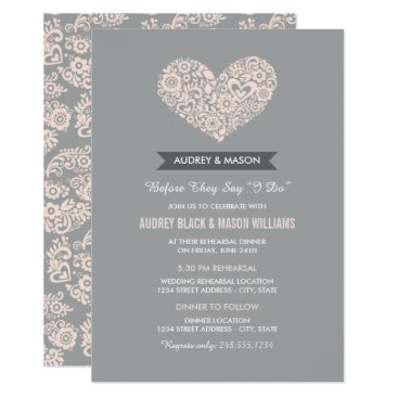 Valentines Themed Wedding Rehearsal and Dinner | Gray and Blush Pink Card