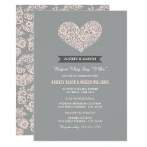 Wedding Rehearsal and Dinner | Gray and Blush Pink Invitation