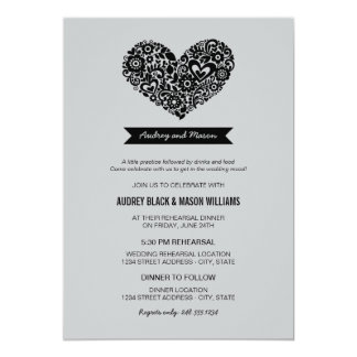 "Wedding Rehearsal and Dinner Invitations 5"" X 7"" Invitation Card"