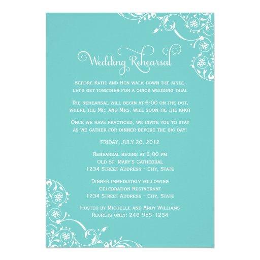 Wedding Rehearsal and Dinner Invitations   Aqua Personalized Invitation