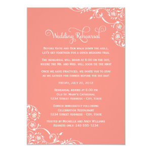 Wedding Rehearsal and Dinner Invitations | Coral 5