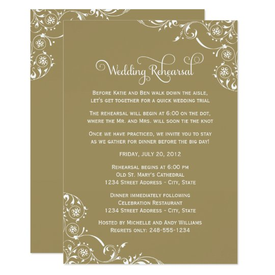 Wedding Rehearsal And Dinner Invitations Gold