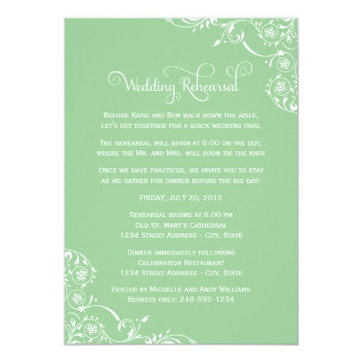 Wedding Rehearsal and Dinner Invitations | Green Personalized Invite