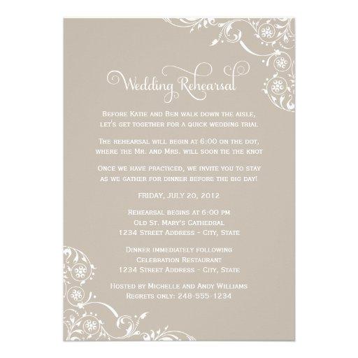 Wedding Rehearsal and Dinner Invitations   Neutral Custom Announcement