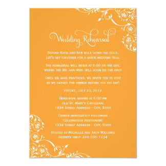 Wedding Rehearsal and Dinner Invitations | Orange