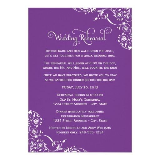 Wedding Rehearsal and Dinner Invitations   Purple Personalized Invite
