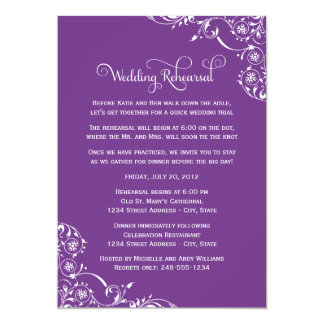 Wedding Rehearsal and Dinner Invitations | Purple Personalized Invite