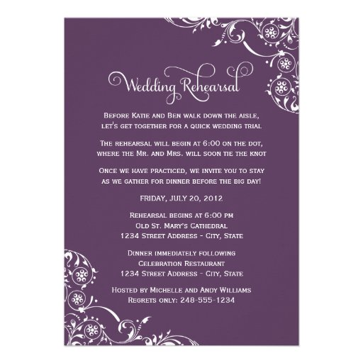 Wedding Rehearsal and Dinner Invitations   Purple Custom Announcement