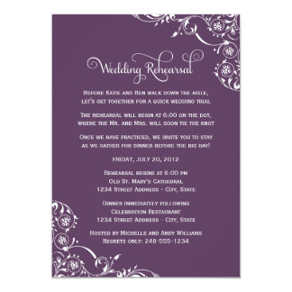 Wedding Rehearsal and Dinner Invitations | Purple Custom Announcement