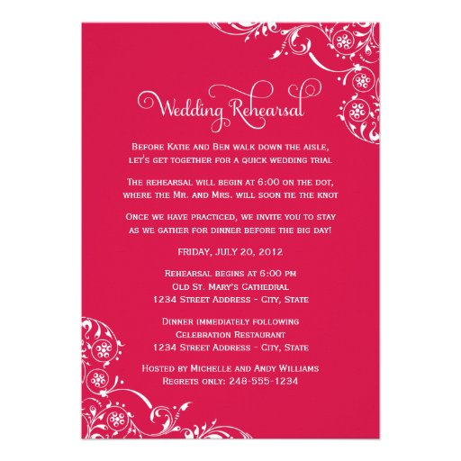 Wedding Rehearsal and Dinner Invitations   Red Cards