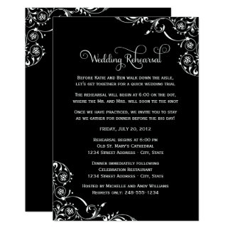 Wedding Rehearsal | Black and White Scroll Card