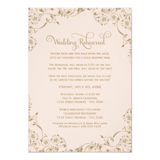 Wedding Rehearsal | Blush and Antique Scroll Card