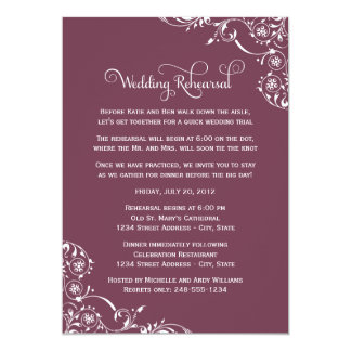 Wedding Rehearsal | Burgundy Scroll Card