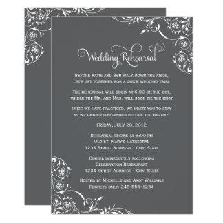 Wedding Rehearsal | Charcoal Gray Scroll Card