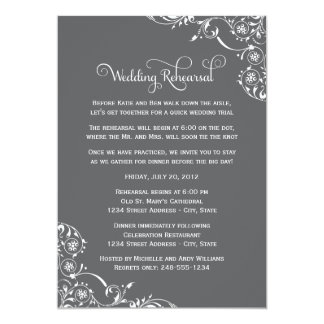 Wedding Rehearsal | Charcoal Gray Scroll Card