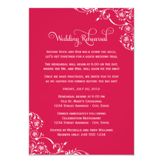 Wedding Rehearsal | Cherry Red Scroll Card