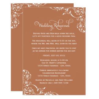 Wedding Rehearsal | Copper Orange Scroll Card