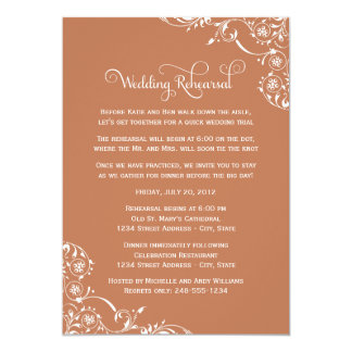 Wedding Rehearsal | Copper Orange Scroll Card