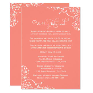 Wedding Rehearsal | Coral Pink Scroll Card