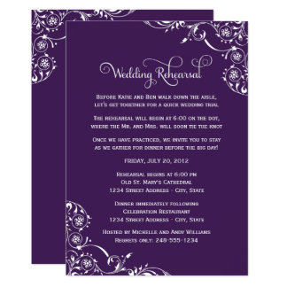 Wedding Rehearsal | Dark Purple Scroll Card