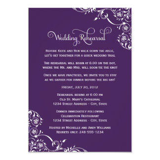 Wedding Rehearsal | Dark Purple Scroll Card