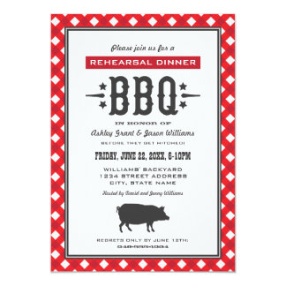 Wedding Rehearsal Dinner | Backyard BBQ Theme 5x7 Paper Invitation Card