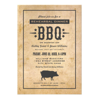 Wedding Rehearsal Dinner Backyard BBQ Theme Invite