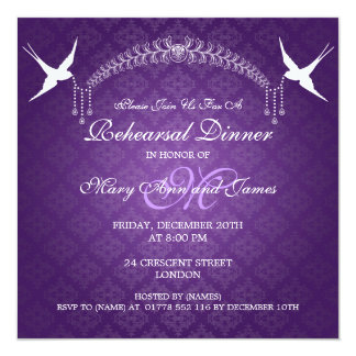 Wedding Rehearsal Dinner Birds Monogram Purple 5.25x5.25 Square Paper Invitation Card
