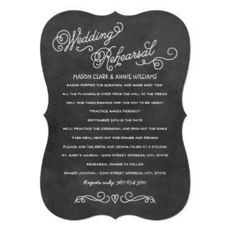 Wedding Rehearsal Dinner | Black Chalkboard Style 5x7 Paper Invitation Card