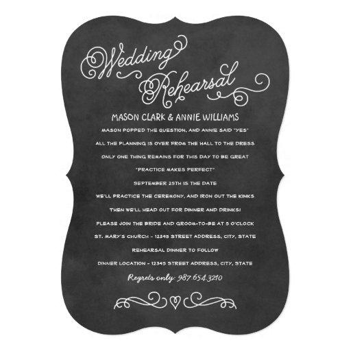Wedding Rehearsal Dinner   Black Chalkboard Style Custom Invitations