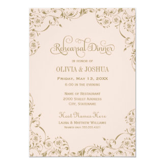 Wedding Rehearsal Dinner | Blush Pink and Gold Card