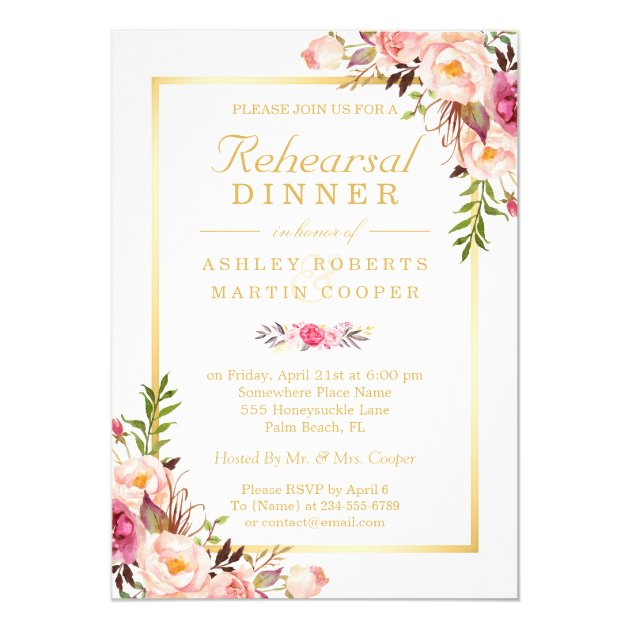 Wedding Rehearsal Dinner Elegant Chic Gold Floral 5x7 Paper Invitation Card