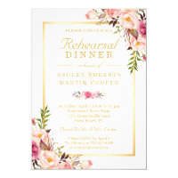 Wedding Rehearsal Dinner Elegant Chic Gold Floral Card