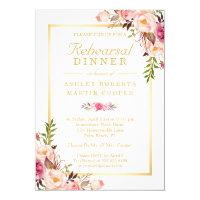 Wedding Rehearsal Dinner Elegant Chic Gold Floral Invitation
