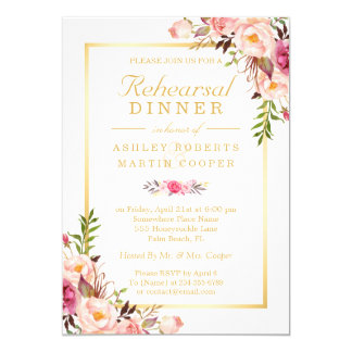 Wedding Rehearsal Dinner Elegant Chic Gold Floral Invitation