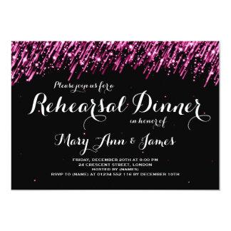 Wedding Rehearsal Dinner Falling Stars Pink Card