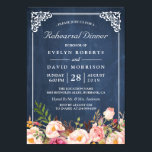 """Wedding Rehearsal Dinner Floral Blue Chalkboard Card<br><div class=""""desc"""">================= ABOUT THIS DESIGN ================= Wedding Rehearsal Dinner Floral Blue Chalkboard Invitations (1) For further customization, please click the &quot;Customize it&quot; button and use our design tool to modify this template. (2) If you prefer thicker papers, you may consider to choose the Matte Paper Type. (3) If you need help...</div>"""