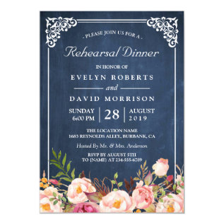 Wedding Rehearsal Dinner Floral Blue Chalkboard Card at Zazzle