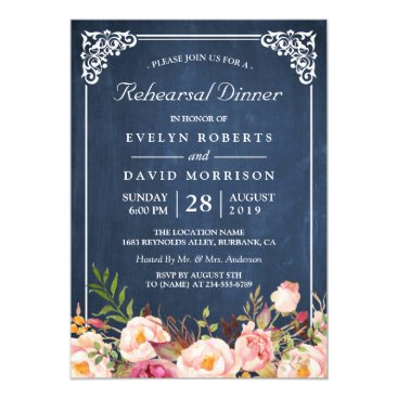 CardHunter Wedding Rehearsal Dinner Floral Blue Chalkboard Card