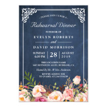 Wedding Rehearsal Dinner Floral Blue Chalkboard Invitation