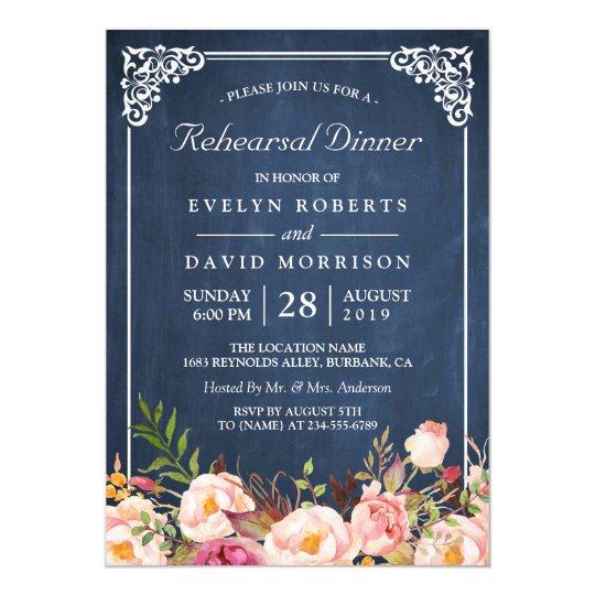 Wedding Rehearsal Dinner Floral Blue Chalkboard Invitation